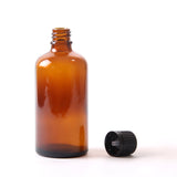 100ml Amber Glass Boston Round Bottle (With Black Tamper Evident Cap)