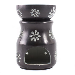 Black with Flowers Soapstone Oil Burner