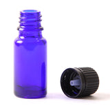 10ml Cobalt Blue Glass Boston Round Bottle (With Black Tamper Evident Cap & Dropper)
