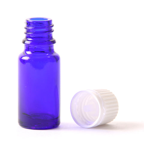 10ml Cobalt Blue Glass Boston Round Bottle (With White Tamper Evident Cap & Dropper)