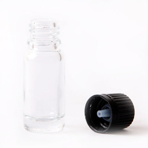 10ml Clear Glass Boston Round Bottle (With White Tamper Evident Cap & Dropper)