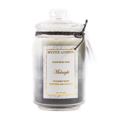 Mystix London Midnight Wooden Wick Scented Jar Candle 440g