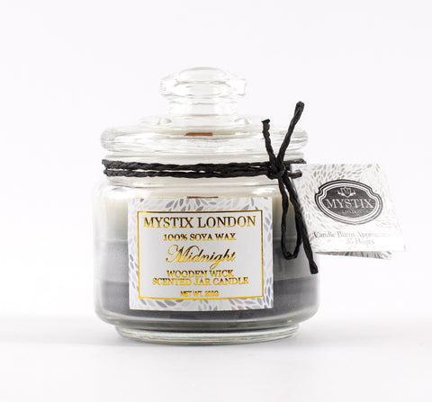 Mystix London Midnight Wooden Wick Scented Jar Candle 200g
