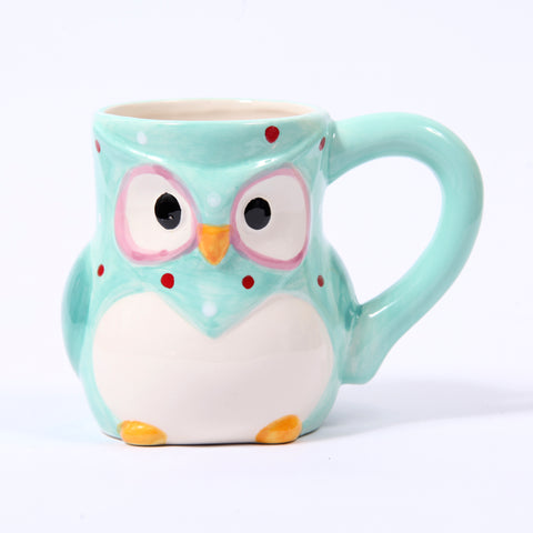 Blue Ceramic Polka Dot Owl Mug