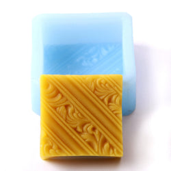Diagonal Lines and Rococo Swirls Square Silicone Soap Mould