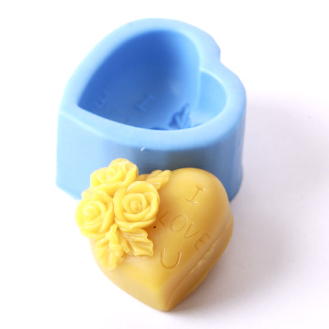 Heart With Roses Silicone Mould