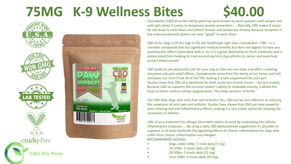 CBD 75 MG K-9 Wellness Bites (Large Dog)