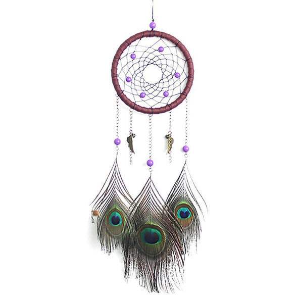 Peacock Pattern Feather Dream Catcher Feather Hanging Handmade Ornament