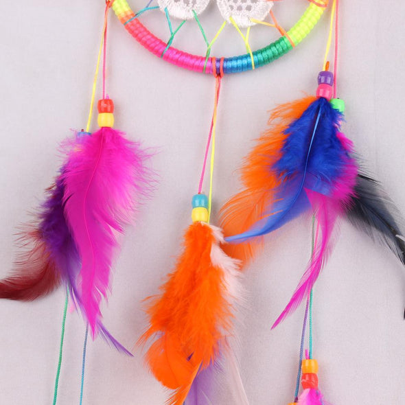 Colorful Floral Design Indian Dream Catcher Wall Hang Decor Crafts
