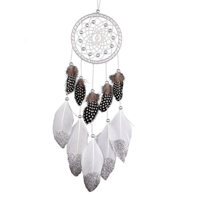 Silver White Dream Catcher Feather Bead Hanging Decoration Ornament