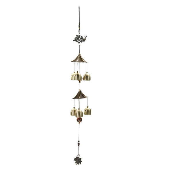 Peacock Carillon Outdoor Living Wind Chimes Garden Tubes Copper 6 Bells