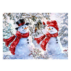 Christmas Snowman - Partial Round Diamond - 30x40cm