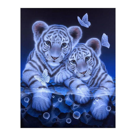 2 Tigers - Partial Round Diamond - 25x30cm
