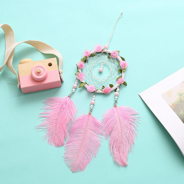 Pink Feathers Handmade Dreamcatcher Craft Dream Catcher Net Home Wall Decor