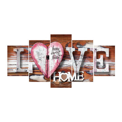 LOVE 5-pictures - Full Round Diamond - 95x45cm