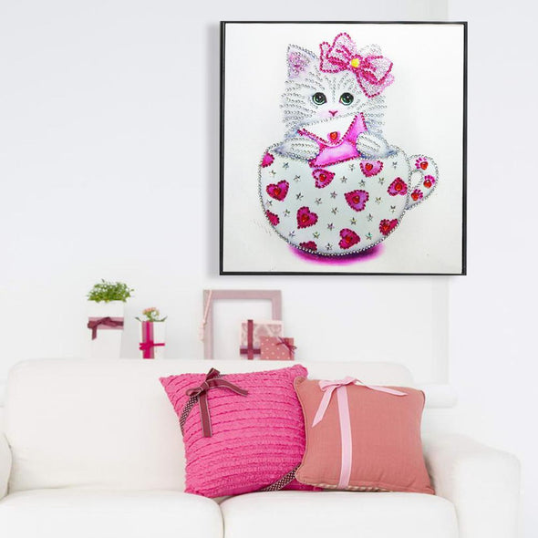 Cat Cup  - Special Shaped Diamond - 30x30cm