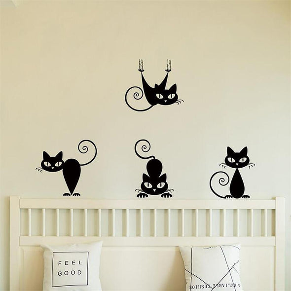 Black Cats Printed PVC Waterproof Removable Self adhesive Wall Sticker