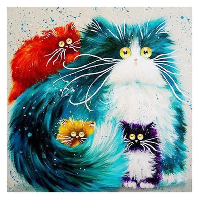 Cartoon Cat Family - Full Round Diamond - 30x30cm