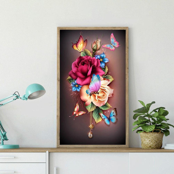 Full Drill Diamond Painting Flower Butterfly