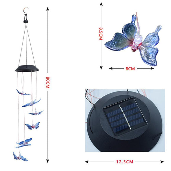 LED Solar Butterfly Wind Chime Light Color Changing Hanging Lamp Home Decor