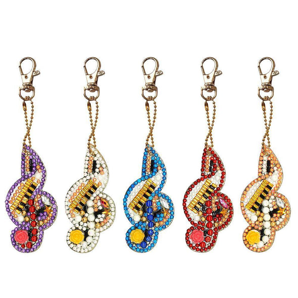 5pcs Paintng Musical Notes Key Chains