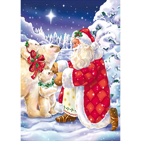 Santa Claus Animal  - Full Round Diamond - 40x30cm