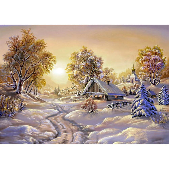 Snow Scenery  - Full Round Diamond - 40x30cm