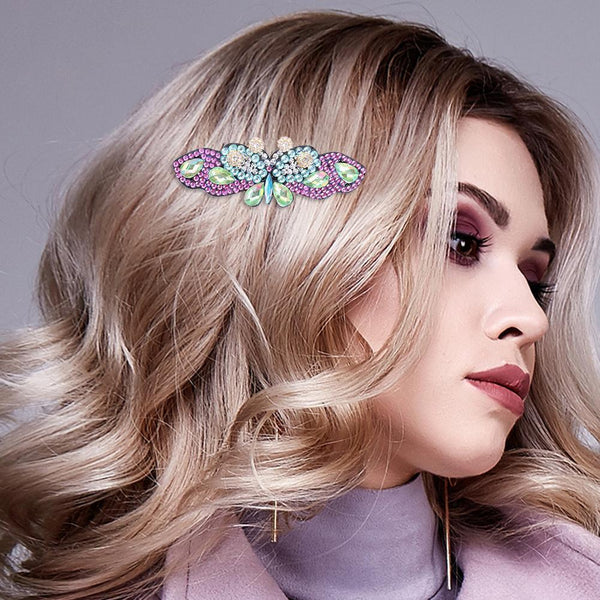 3pcs Butterfly Hair Clip Crystal Bowknot Barrettes
