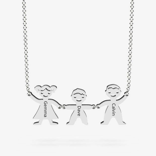 Mother's Necklace with Engraved Holding Hands Children Charms
