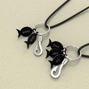 Personalized Fishing Necklace - Black