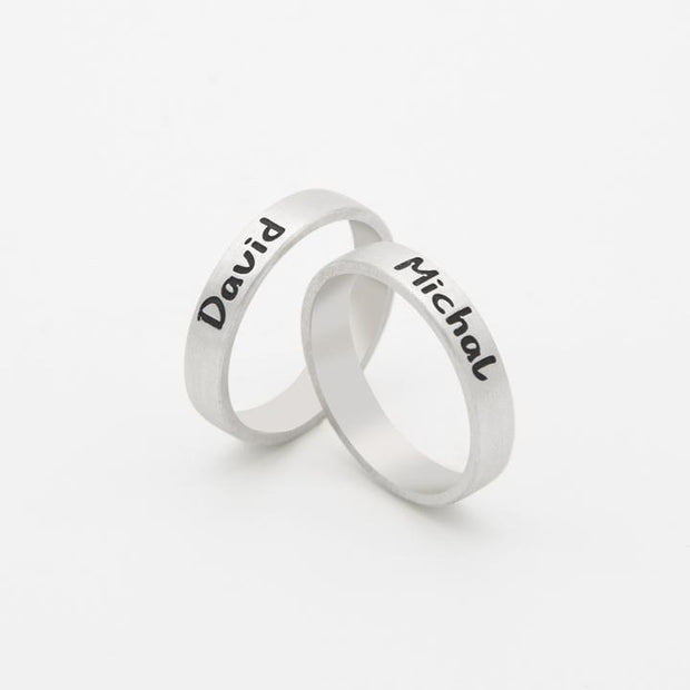 Engraved Couples Ring in Sterling Silver