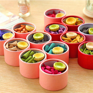 25 Pieces Thin Flavored Backflow Incense Cone With Colorful Container