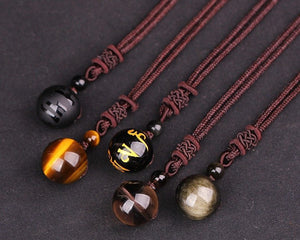 Natural Stone Black Obsidian Tiger Eye Stone Pendant