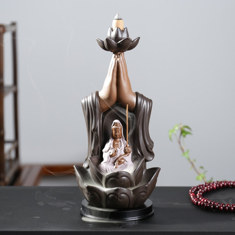Tathagata Buddha Incense Cones & Sticks Holder