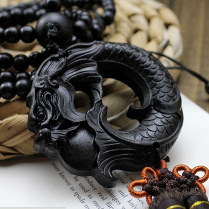 Black Dragon Beast Wood Hand Crafted Amulets Car Hanging Decoration
