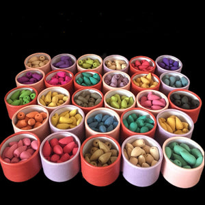 25 Pieces Natural Flavored Backflow Incense Cone With Colorful Container