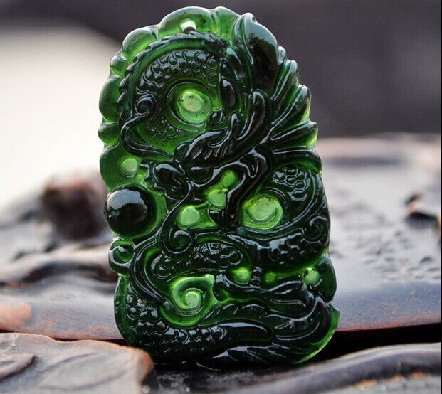 Natural HeTian Jades Hand Carved Dragon Lucky Amulet pendants