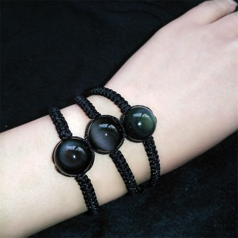 Natural Black Rainbow Eye Obsidian Bracelet