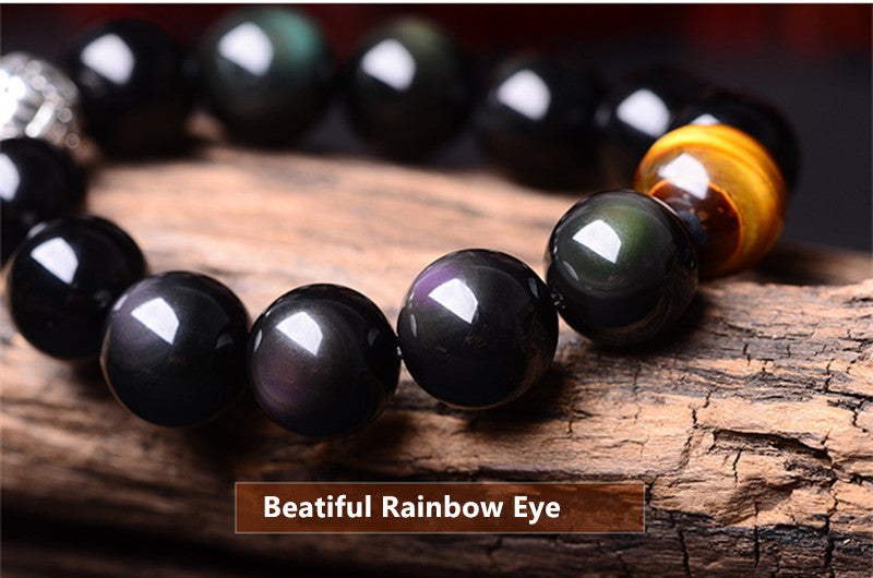 Natural Rainbow Eye Obsidian Pixiu Bracelet