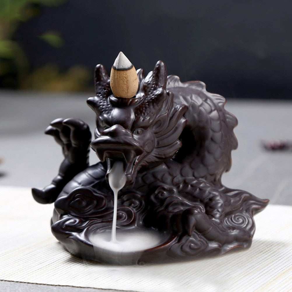 Traditional Chinese Dragon Incense Holder Porcelain