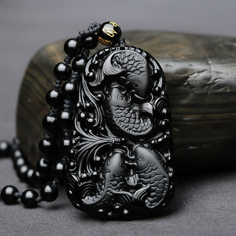 Natural Black Obsidian Carved Fish Reunion Blessing Pendant