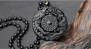 Natural Black Obsidian Hand Carved Dragon and Phoenix Lucky Pendant