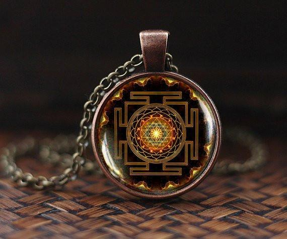 Reiki and Mantra Infused Sacred Sri Yantra Necklace Pendant - HealthZen.co