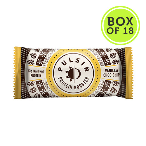 Pulsin Vanilla Choc Chip Protein Booster Bars - Box of 18