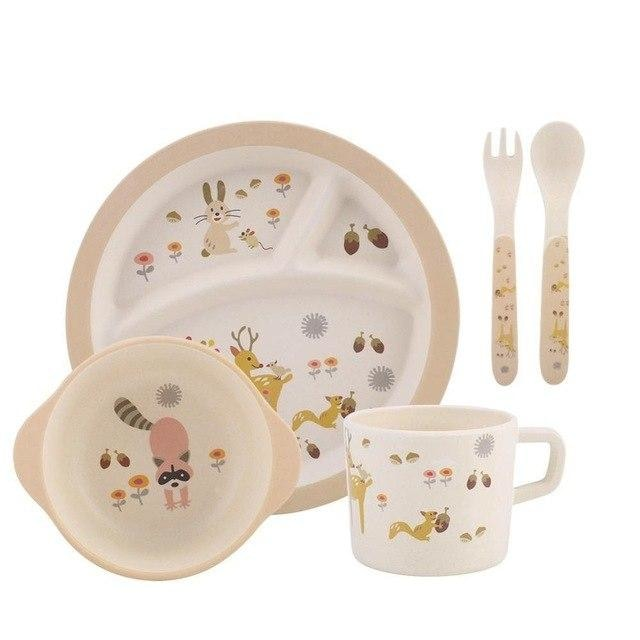 5Pcs Divided Plate Tableware Set - Beige