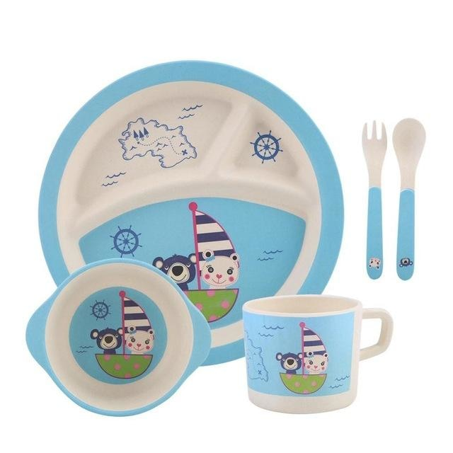 5Pcs Divided Plate Tableware Set - Blue
