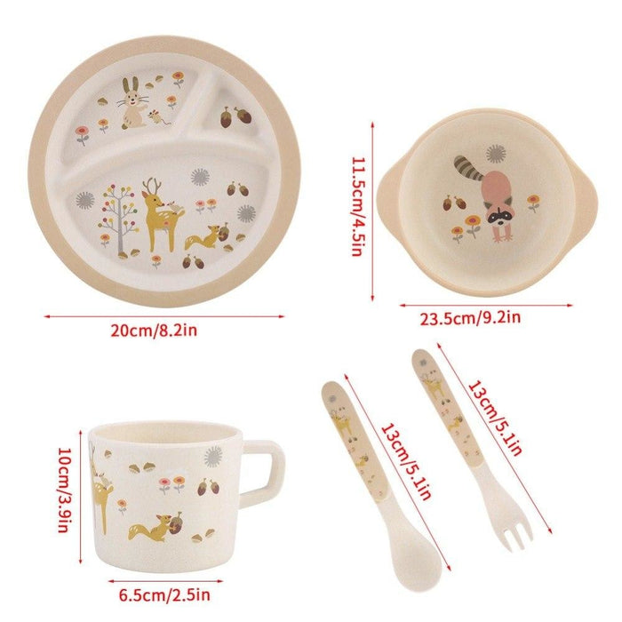 5Pcs Divided Plate Tableware Set