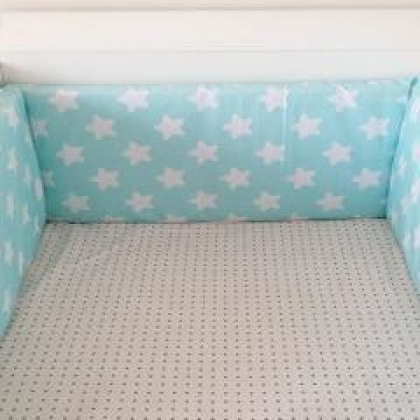 Baby Bed Bumper - Star Blue