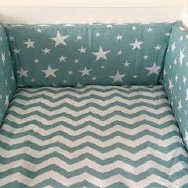 Baby Bed Bumper - Starry Green