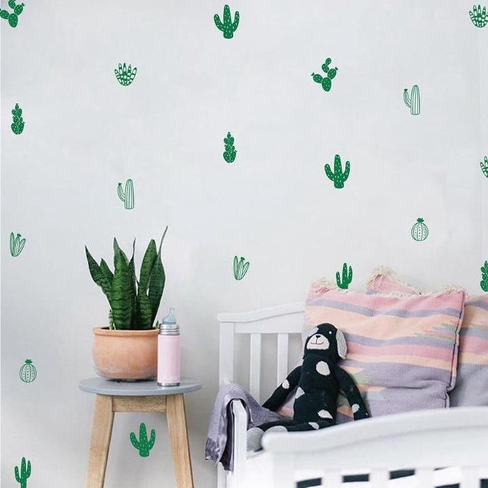 Cactus Wall Stickers - Army Green / 16 Cactus